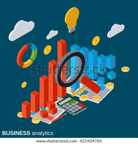 Financial statistics, business report, modern infographic, market trends analysis flat isometric vector concept illustration - stock vector