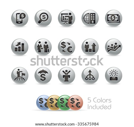 Financial Strategies Icons // Metal Round Series -- The vector file includes 5 color versions for each icon in different layers. - stock vector