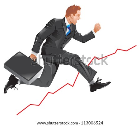 Financial success, running man with a briefcase, line graph uptrend, vector illustration - stock vector