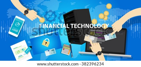 financial technology services banking commercial  - stock vector
