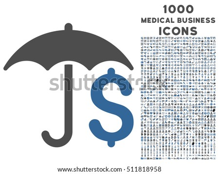Financial Umbrella vector bicolor icon with 1000 medical business icons. Set style is flat pictograms, cobalt and gray colors, white background.
