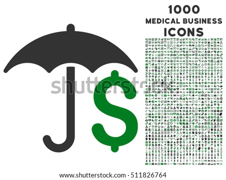 Financial Umbrella vector bicolor icon with 1000 medical business icons. Set style is flat pictograms, green and gray colors, white background.