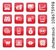 Financial vector Icon Set for web and mobile. All elements are grouped. - stock photo