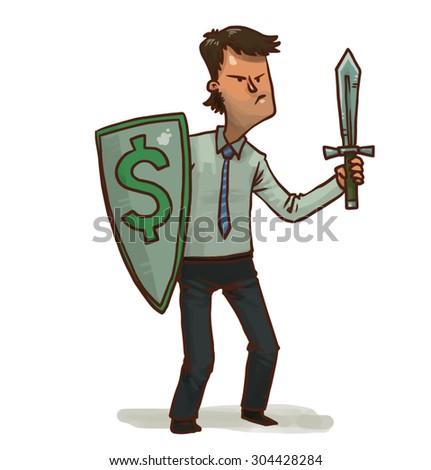 Financial warrior with dollar shield, vector - stock vector