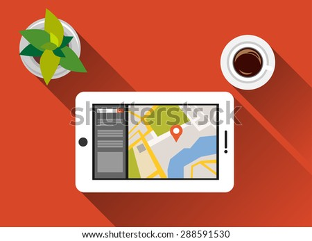 Find a place concept illustration flat design with long shadow. Search place concept. Using gadget for searching location.  - stock vector