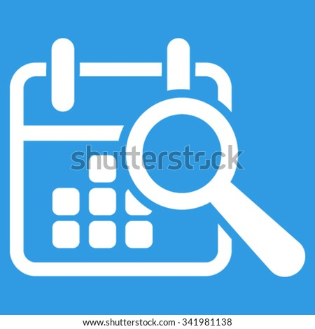 Find Date vector icon. Style is flat symbol, white color, rounded angles, blue background. - stock vector