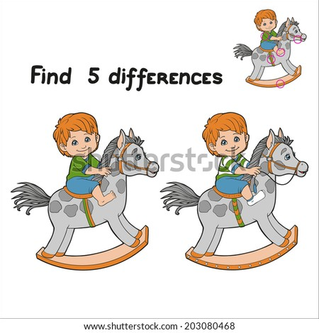 Find 5 differences (boy) - stock vector