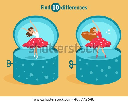 Find 10 differences. Danc in bright colors of yellow, blue, red. Vector isolated illustration. Cartoon character. - stock vector