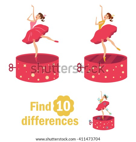 Find 10 differences. Dancer in the music box. Children's page in bright colors of yellow, blue, red. Vector isolated illustration. Cartoon character. - stock vector