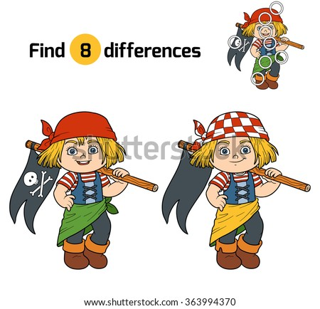 Find differences, game for children (pirate girl)