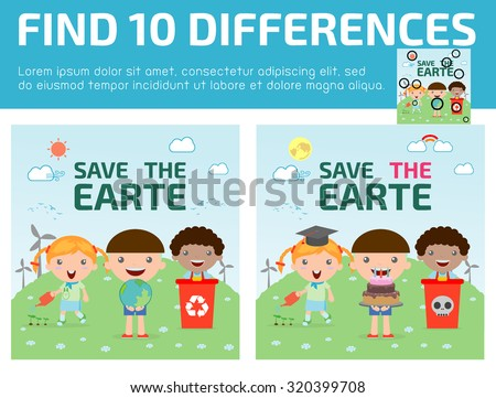 find differences,Game for kids ,find differences,Brain games, children game, Educational Game for Preschool Children, Vector Illustration, Kids for Saving Earth  - stock vector