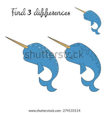 Find differences kids layout for game narwhal  vector illustration