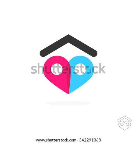 Find love place mark couple transparent pins symbol passion concept destination amour wedding embrace together isolated on white background flat style icon modern brand design vector illustration - stock vector