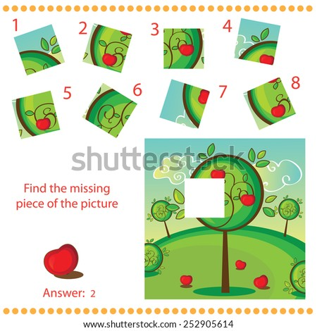Find missing piece - Puzzle game for Children with apple tree - stock vector