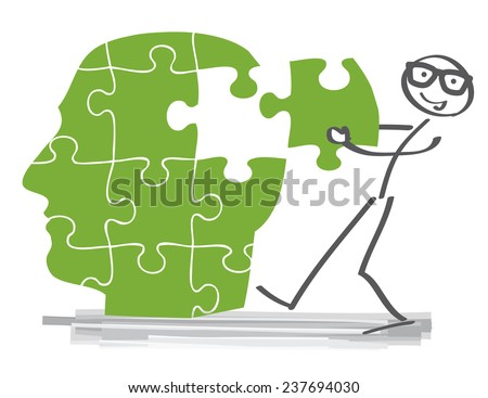 find solutions - creative puzzle-brain Idea concept - stock vector