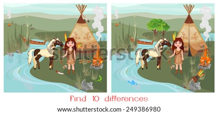 Find ten differences - stock vector