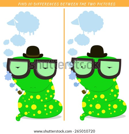 Find ten differences between the two pictures. Cartoon snake character. Colorful rebus for kid on isolated background. Snake vector. Detective  character. Eps 8 - stock vector