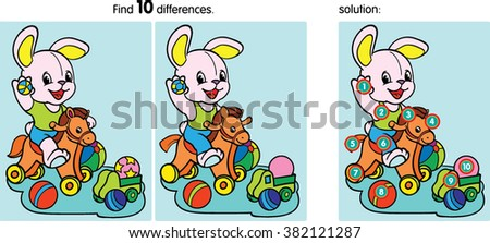 Find  ten differences.Cartoon Vector Illustration. Hare a balloon.