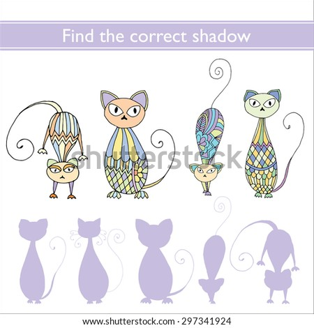 Find the correct shadow (cats) - stock vector