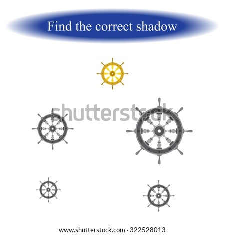 Find the correct shadow ( helm ). Vector illustration.