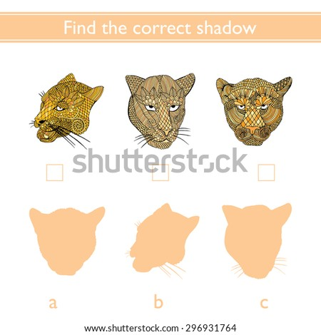 Find the correct shadow (mountain lion, tiger, leopard)  - stock vector
