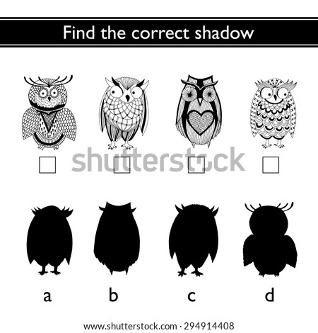 Find the correct shadow (owl) - stock vector