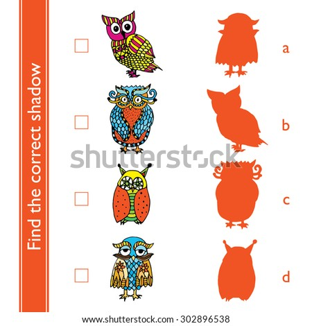Find the correct shadow (owl). Match the pictures of cute vivid owls to their shadows. - stock vector