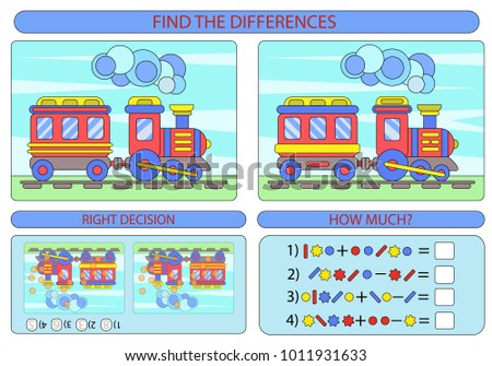 Find Difference Two Train Children Funny Stock Vector HD (Royalty ...