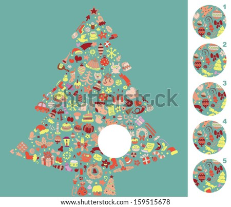 Find the right piece, visual game. Answer No. 4. Illustration is in eps8 vector mode! - stock vector