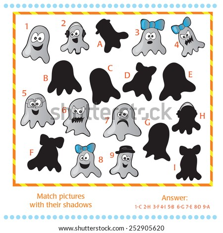 Find the shadows of pictures of funne ghosts - stock vector