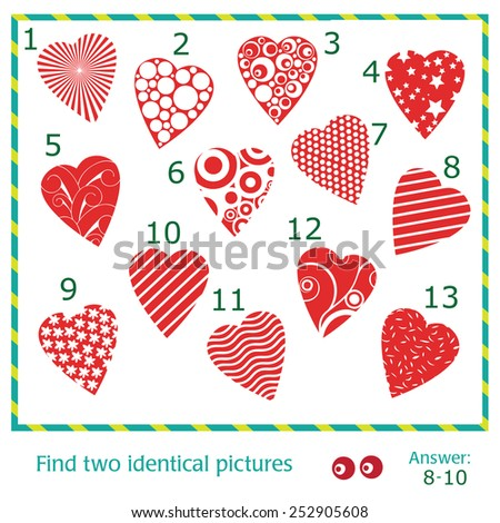 Find two identical pictures of vector hearts - stock vector