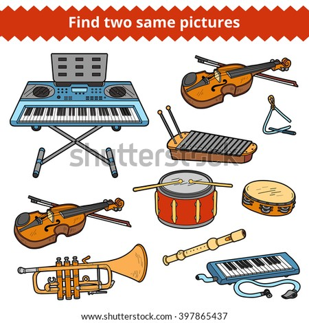 Find two same pictures, education game for children. Vector colorful musical instruments