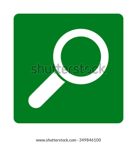 Find vector icon. Style is flat rounded square button, white and green colors, white background. - stock vector