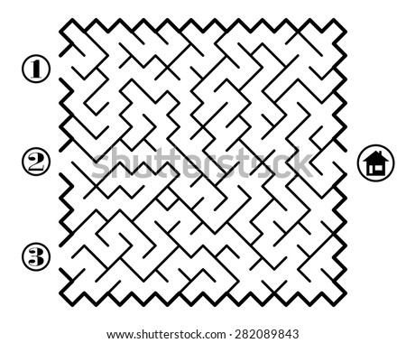 Find way across labyrinth to the home. Three entrances and only one correct path. Vector illustration on white background.