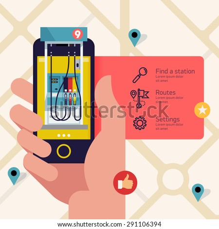 Finding gasoline and oil filling station application. Hand with mobile device with gas filling stations search application running - stock vector