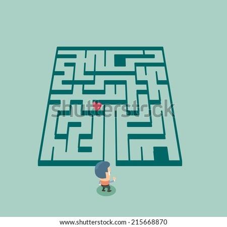 Finding love in maze. Flat vector illustration - stock vector