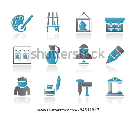 Fine art objects icons - vector icon set - stock vector