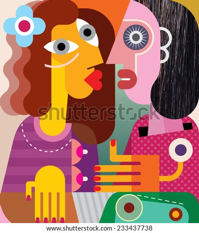 Fine art portrait of two women looking at each other. Vector illustration. - stock vector