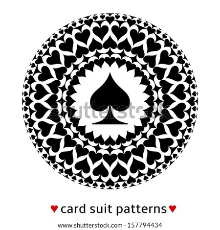 Fine card suit pattern made from spades. Poker situation when cards are all of the same suit. Looks like a car wheel. - stock vector