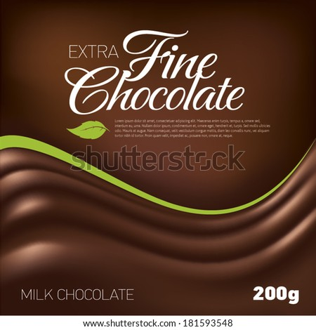 Fine Chocolate wave background, label inspiration - stock vector