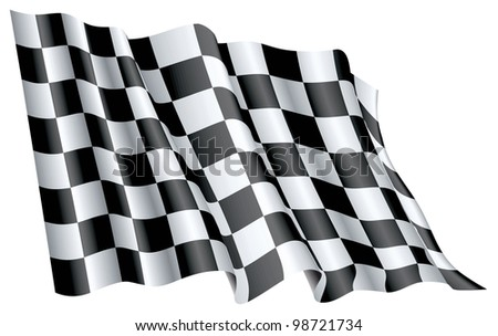 Fine 3d image of classic checked start flag - stock vector