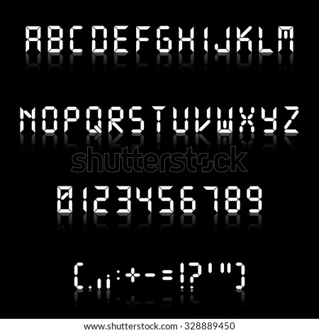 Fine digital font with reflection, each letter separately, isolated. Useful for typing some messages. Vector