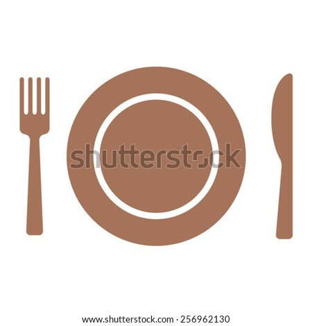 Fine dining or restaurant dining flat icon with plate, fork and knife for apps and websites - stock vector