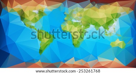 Fine geometrical stylized world map using for background - stock vector