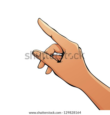 Finger pointing female hand vector illustration. - stock vector