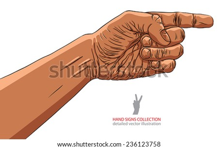 Finger pointing hand, African ethnicity, detailed vector illustration, hand sign, hand drawn. - stock vector