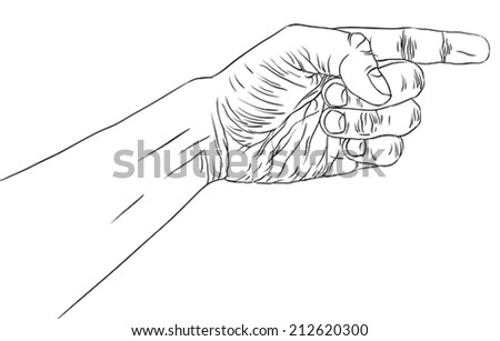 Finger pointing hand, detailed black and white lines vector illustration, hand sign, hand drawn.