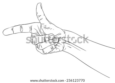 Finger pointing hand, detailed black and white lines vector illustration, hand sign, hand drawn. - stock vector
