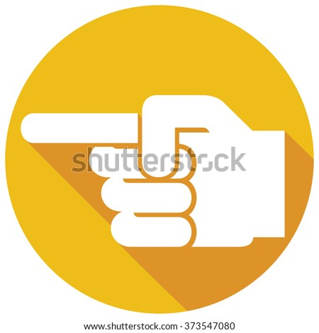 finger pointing symbol flat icon (hand with pointing finger, finger point icon) - stock vector