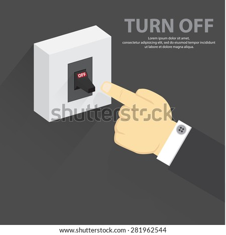 Finger Pressing Off Switch Stock Vector 245941423